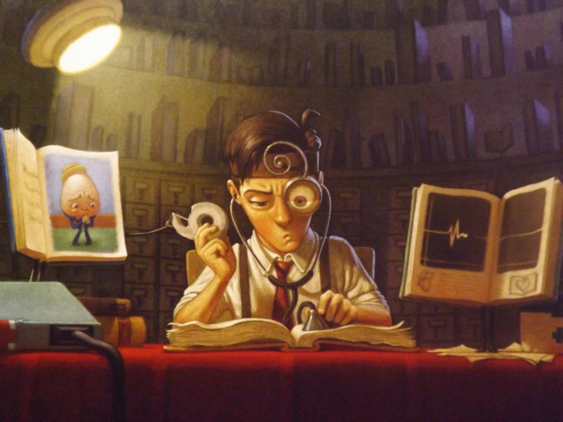 Morris Lessmore restaurando libros dañados